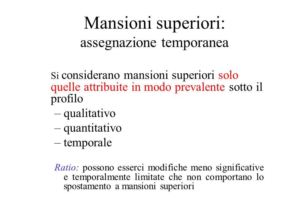Mansioni superiori: assegnazione temporanea Si considerano mansioni superiori solo quelle attribuite in modo prevalente sotto il profilo –qualitativo