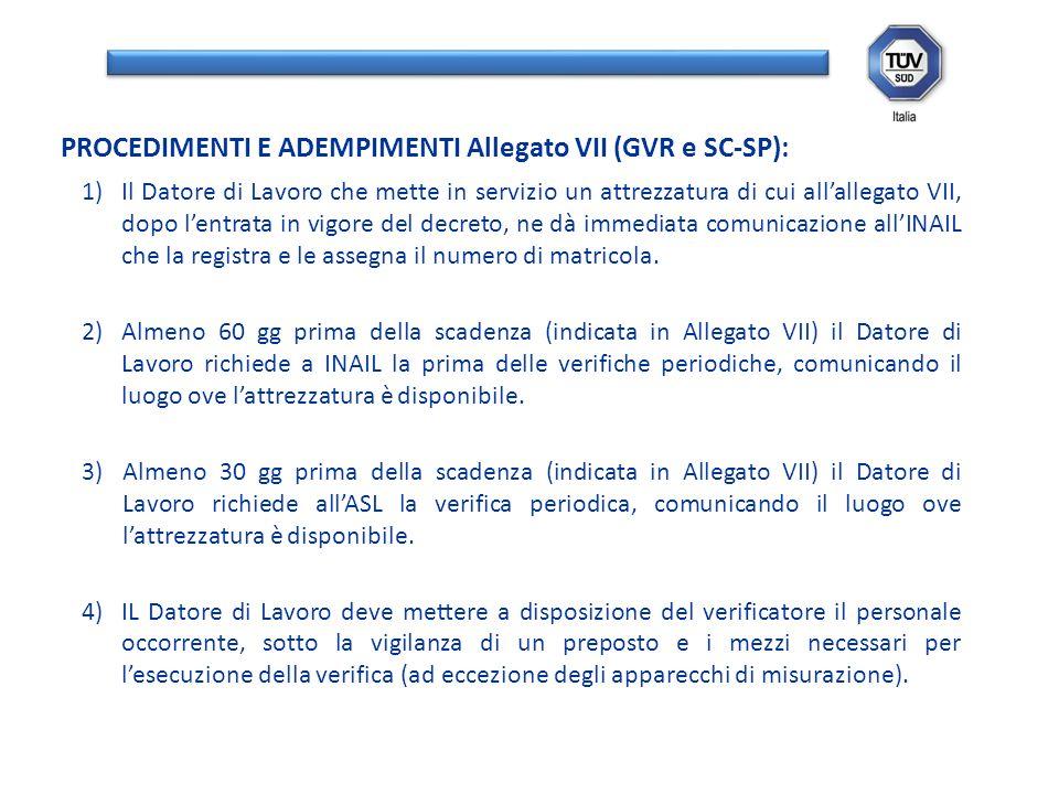 1)Il Datore di Lavoro che mette in servizio un attrezzatura di cui allallegato VII, dopo lentrata in vigore del decreto, ne dà immediata comunicazione