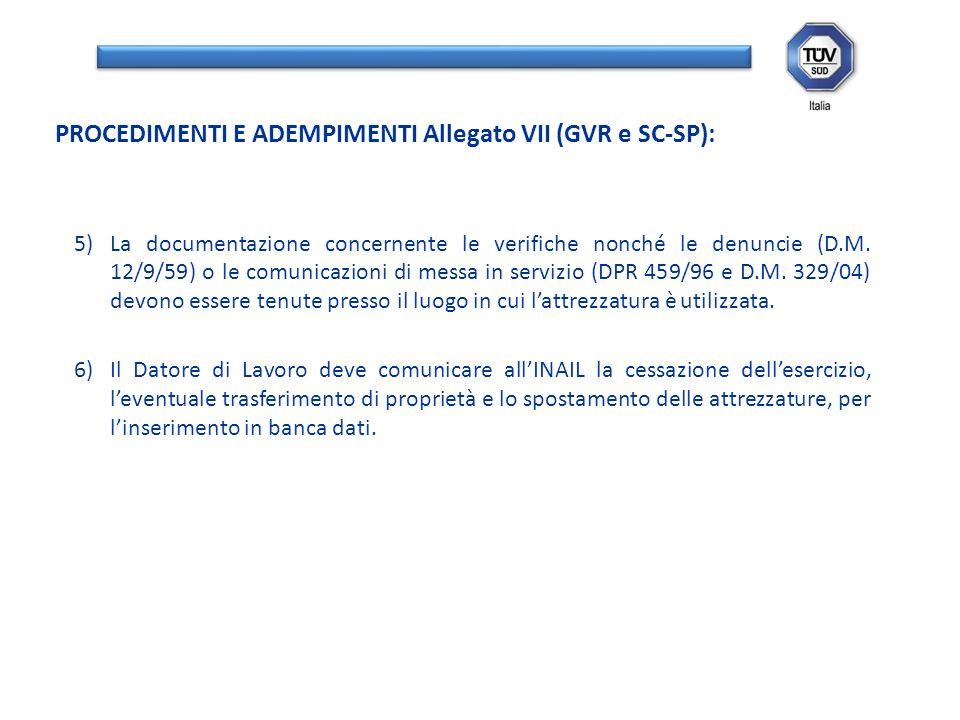 5)La documentazione concernente le verifiche nonché le denuncie (D.M. 12/9/59) o le comunicazioni di messa in servizio (DPR 459/96 e D.M. 329/04) devo
