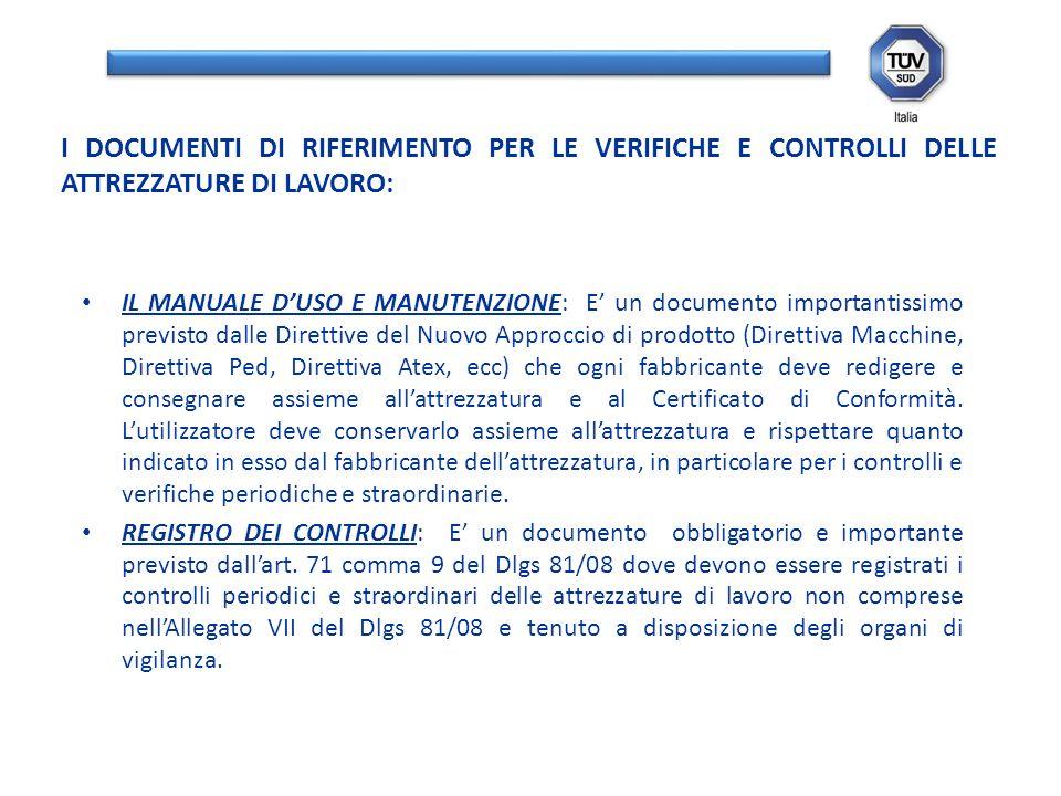 IL MANUALE DUSO E MANUTENZIONE: E un documento importantissimo previsto dalle Direttive del Nuovo Approccio di prodotto (Direttiva Macchine, Direttiva