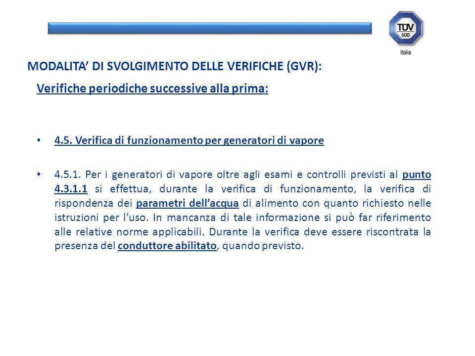 Verifiche periodiche successive alla prima: 4.5. Verifica di funzionamento per generatori di vapore 4.5.1. Per i generatori di vapore oltre agli esami