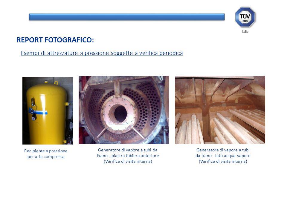 REPORT FOTOGRAFICO: Recipiente a pressione per aria compressa Generatore di vapore a tubi da Fumo - piastra tubiera anteriore (Verifica di visita inte