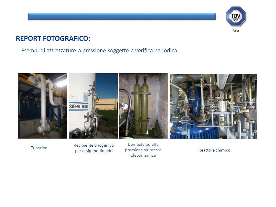 REPORT FOTOGRAFICO: Tubazioni Recipiente criogenico per ossigeno liquido Bombole ad alta pressione su pressa oleodinamica Reattore chimico