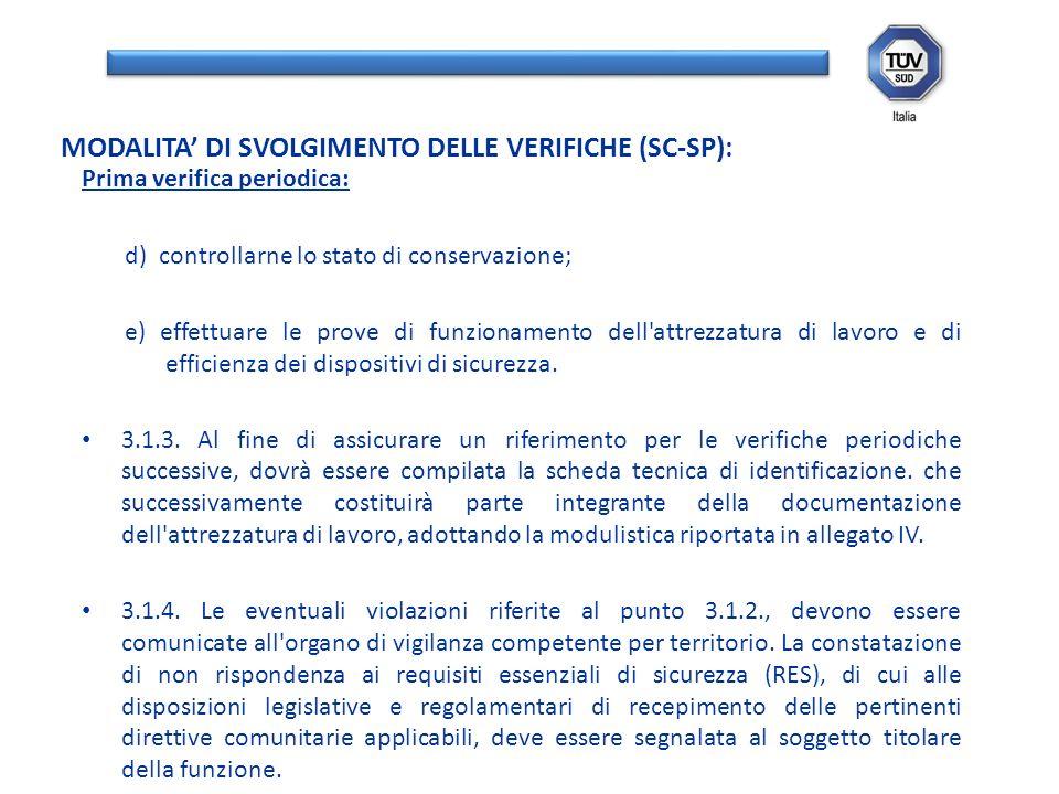 Prima verifica periodica: d) controllarne lo stato di conservazione; e) effettuare le prove di funzionamento dell'attrezzatura di lavoro e di efficien