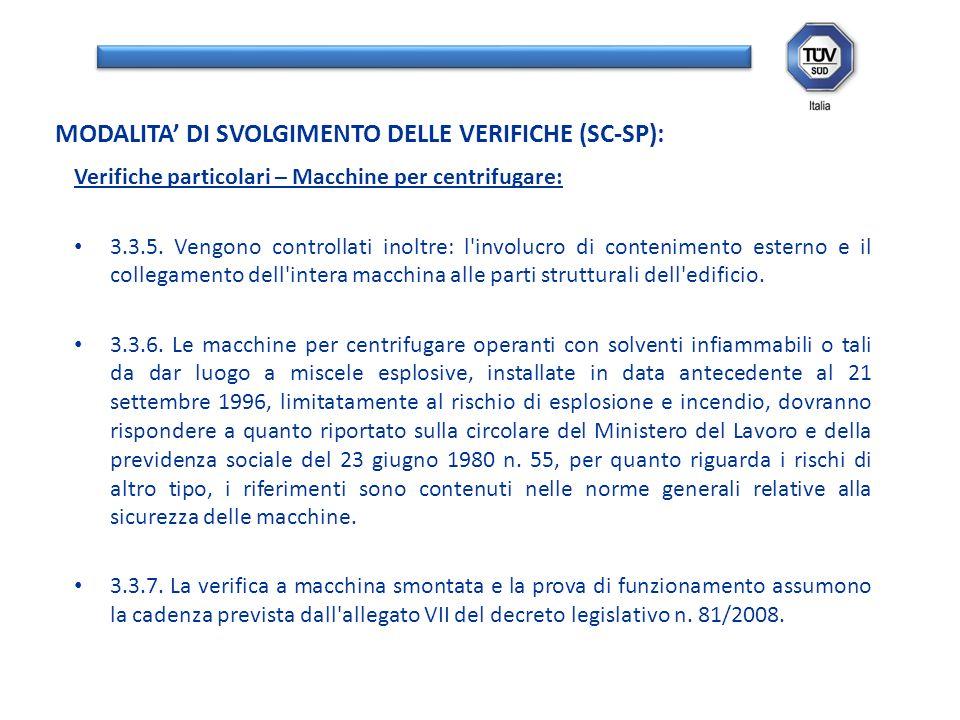 Verifiche particolari – Macchine per centrifugare: 3.3.5. Vengono controllati inoltre: l'involucro di contenimento esterno e il collegamento dell'inte