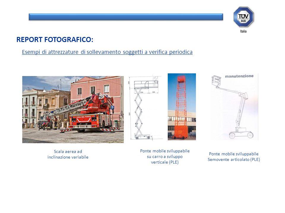 Esempi di attrezzature di sollevamento soggetti a verifica periodica REPORT FOTOGRAFICO: Scala aerea ad inclinazione variabile Ponte mobile sviluppabi
