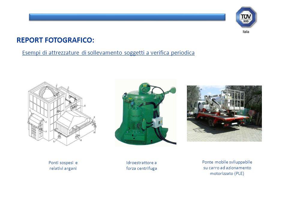 Esempi di attrezzature di sollevamento soggetti a verifica periodica REPORT FOTOGRAFICO: Ponti sospesi e relativi argani Idroestrattore a forza centri