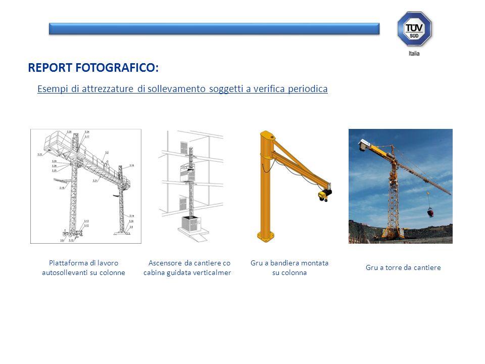 Esempi di attrezzature di sollevamento soggetti a verifica periodica REPORT FOTOGRAFICO: Piattaforma di lavoro autosollevanti su colonne Ascensore da