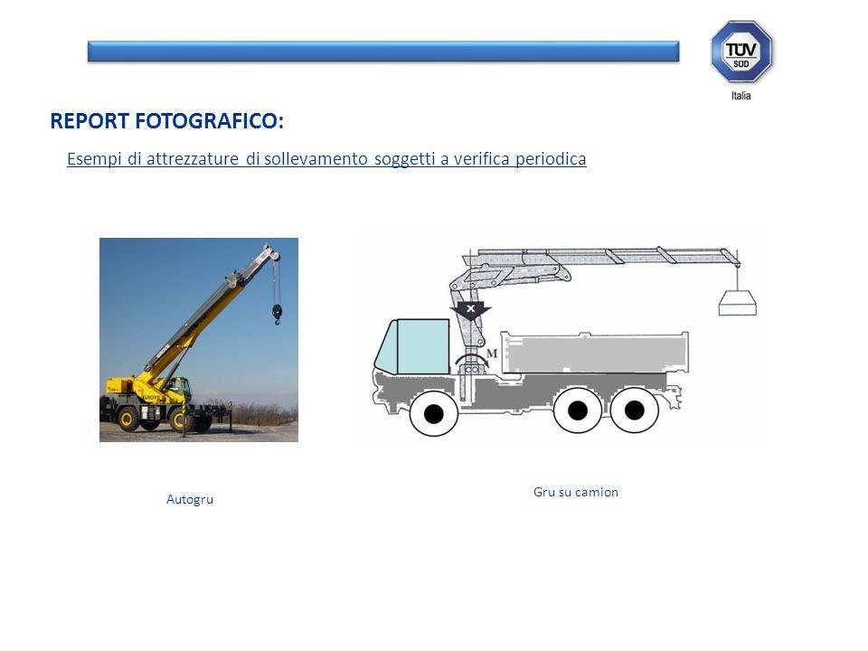 Esempi di attrezzature di sollevamento soggetti a verifica periodica REPORT FOTOGRAFICO: Autogru Gru su camion