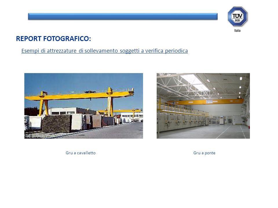 Esempi di attrezzature di sollevamento soggetti a verifica periodica REPORT FOTOGRAFICO: Gru a cavallettoGru a ponte