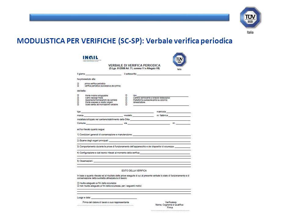 MODULISTICA PER VERIFICHE (SC-SP): Verbale verifica periodica