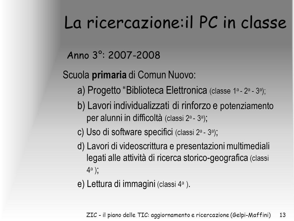 ZIC - il piano delle TIC: aggiornamento e ricercazione (Gelpi-Maffini)13 La ricercazione:il PC in classe Scuola primaria di Comun Nuovo: a) Progetto Biblioteca Elettronica (classe 1 a - 2 a - 3 a ); b) Lavori individualizzati di rinforzo e potenziamento per alunni in difficoltà (classi 2 a - 3 a ) ; c) Uso di software specifici (classi 2 a - 3 a ) ; d) Lavori di videoscrittura e presentazioni multimediali legati alle attività di ricerca storico-geografica (classi 4 a ) ; e) Lettura di immagini (classi 4 a ).