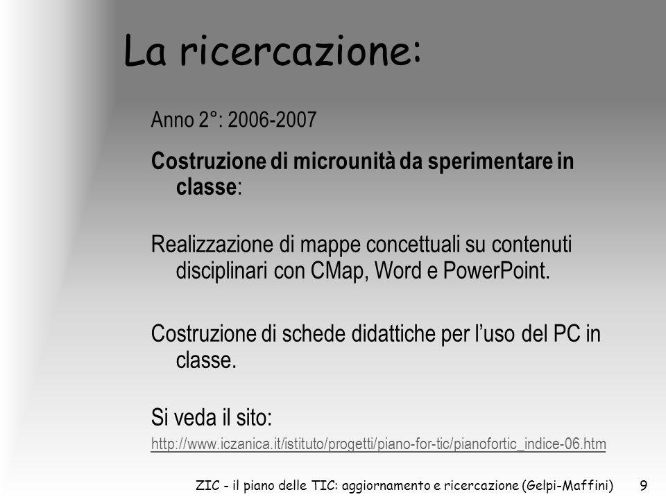ZIC - il piano delle TIC: aggiornamento e ricercazione (Gelpi-Maffini)9 La ricercazione: Costruzione di microunità da sperimentare in classe : Realizzazione di mappe concettuali su contenuti disciplinari con CMap, Word e PowerPoint.