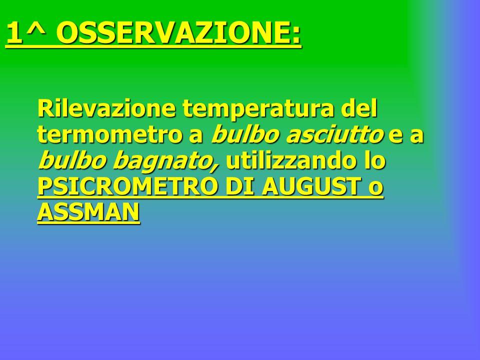 1^ OSSERVAZIONE: Rilevazione temperatura del termometro a bulbo asciutto e a bulbo bagnato, utilizzando lo PSICROMETRO DI AUGUST o ASSMAN