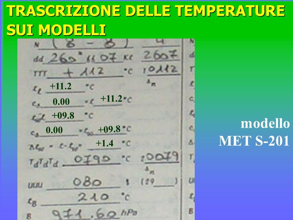 TRASCRIZIONE DELLE TEMPERATURE SUI MODELLI modello MET S-201 +11.2 0.00 +11.2 +09.8 0.00 +1.4