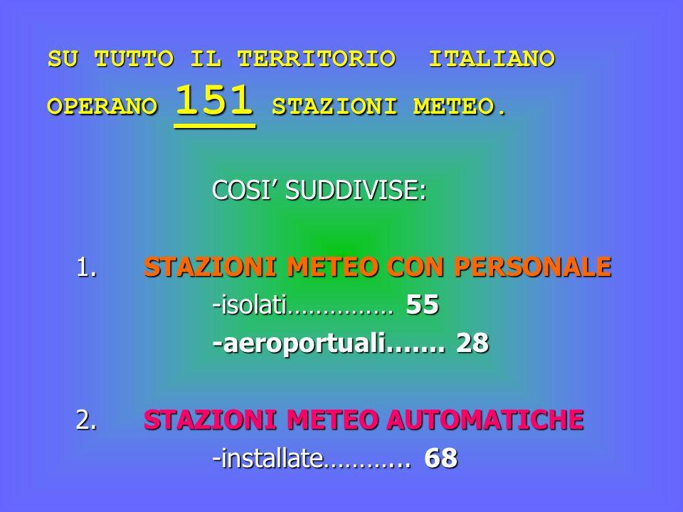 SU TUTTO IL TERRITORIO ITALIANO OPERANO 151 STAZIONI METEO. COSI SUDDIVISE: 1.STAZIONI METEO CON PERSONALE -isolati…………… 55 -aeroportuali….... 28 2.ST