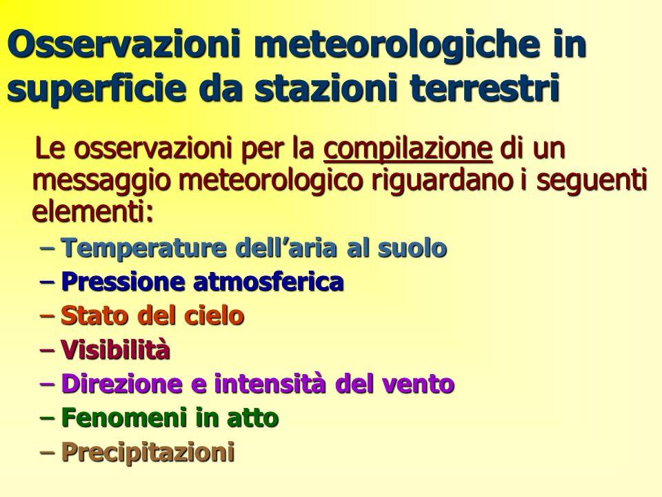 Osservazioni meteorologiche in superficie da stazioni terrestri Le osservazioni per la compilazione di un messaggio meteorologico riguardano i seguent