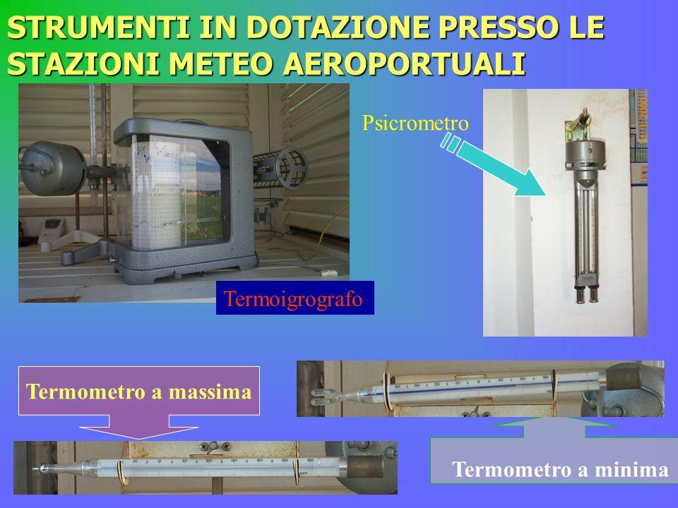 STRUMENTI IN DOTAZIONE PRESSO LE STAZIONI METEO AEROPORTUALI Termoigrografo Psicrometro Termometro a minima Termometro a massima