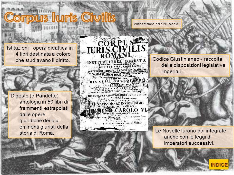 Istituzioni - opera didattica in 4 libri destinata a coloro che studiavano il diritto. Antica stampa del XVIII secolo Digesto (o Pandette) - antologia