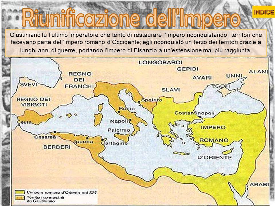 Giustiniano fu lultimo imperatore che tentò di restaurare lImpero riconquistando i territori che facevano parte dellImpero romano dOccidente; egli ric
