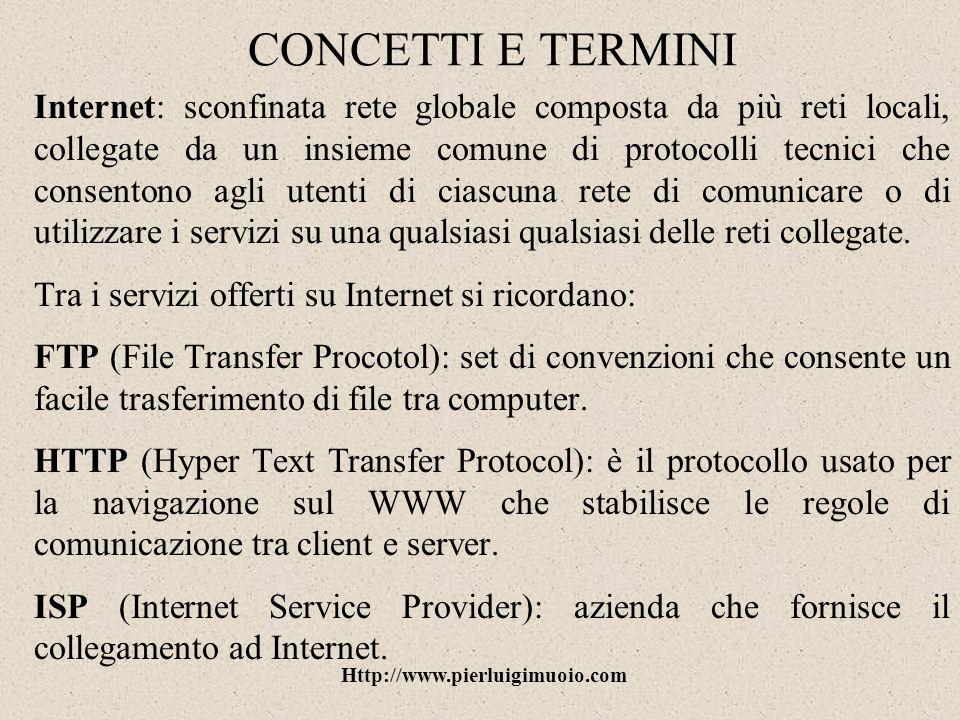Http://www.pierluigimuoio.com CONCETTI E TERMINI URL (Uniform Resource Locator): metodo standard per indicare lindirizzo logico di una risorsa Internet.