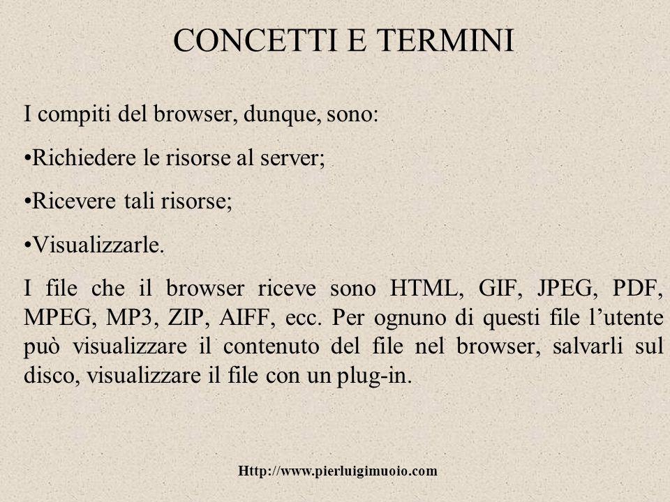 Http://www.pierluigimuoio.com Internet Explorer: i preferiti Con la funzione Preferiti è possibile creare un elenco di siti di maggiore interesse e visitarli in ogni momento senza digitarne lindirizzo.