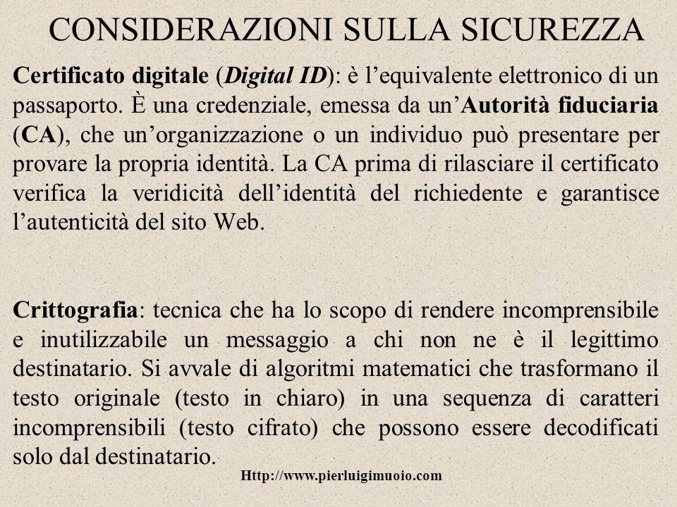 Http://www.pierluigimuoio.com CONSIDERAZIONI SULLA SICUREZZA Virus informatici: programma, o parte di un programma, che riesce a replicare se stesso ed a compiere una serie di operazioni dannose.