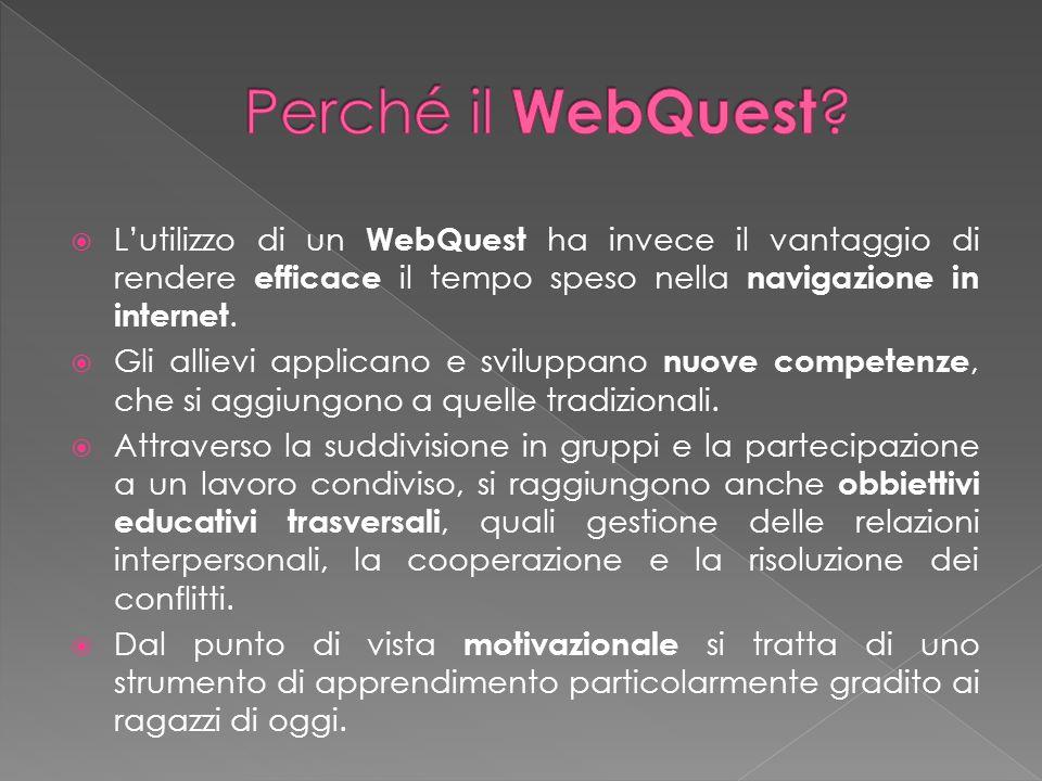 Lutilizzo di un WebQuest ha invece il vantaggio di rendere efficace il tempo speso nella navigazione in internet. Gli allievi applicano e sviluppano n
