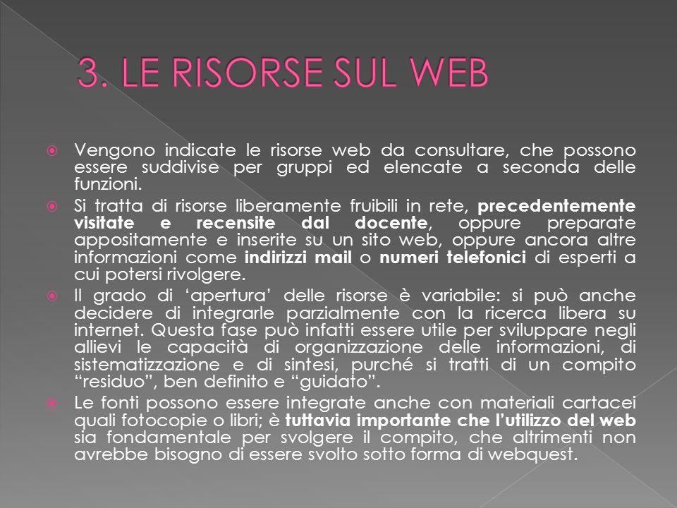 Vengono indicate le risorse web da consultare, che possono essere suddivise per gruppi ed elencate a seconda delle funzioni. Si tratta di risorse libe