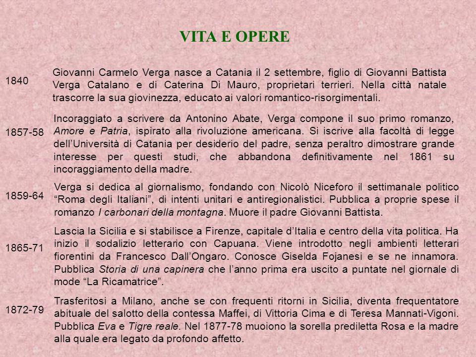 VITA E OPERE 1840 Giovanni Carmelo Verga nasce a Catania il 2 settembre, figlio di Giovanni Battista Verga Catalano e di Caterina Di Mauro, proprietari terrieri.