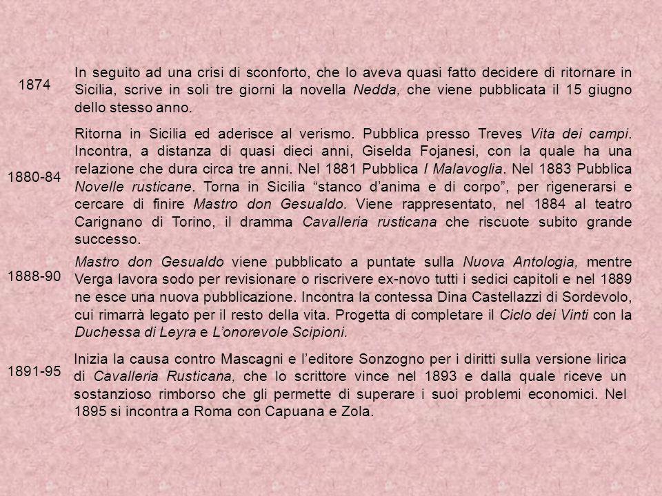 In seguito ad una crisi di sconforto, che lo aveva quasi fatto decidere di ritornare in Sicilia, scrive in soli tre giorni la novella Nedda, che viene pubblicata il 15 giugno dello stesso anno.