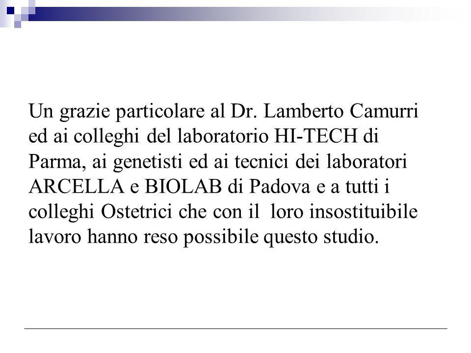 Un grazie particolare al Dr. Lamberto Camurri ed ai colleghi del laboratorio HI-TECH di Parma, ai genetisti ed ai tecnici dei laboratori ARCELLA e BIO