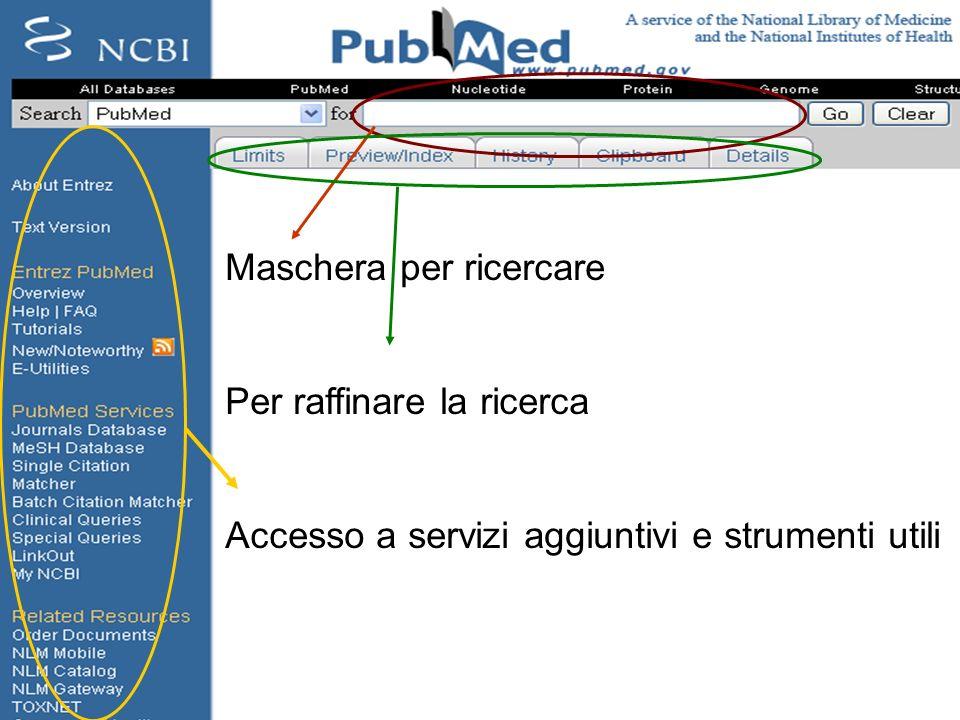 http://pubmed.gov Maschera per ricercare Per raffinare la ricerca Accesso a servizi aggiuntivi e strumenti utili