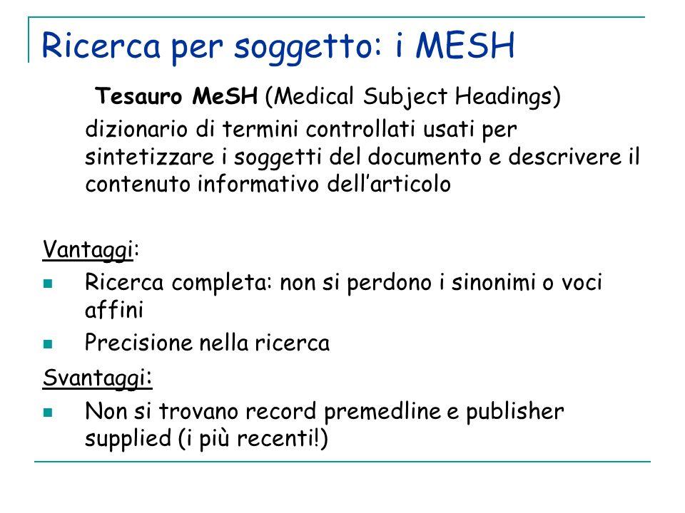 Ricerca per soggetto: i MESH Tesauro MeSH (Medical Subject Headings) dizionario di termini controllati usati per sintetizzare i soggetti del documento