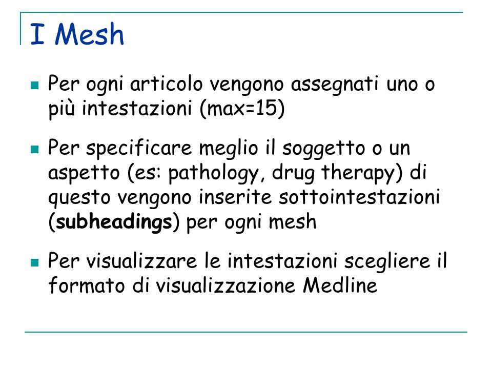 I Mesh Per ogni articolo vengono assegnati uno o più intestazioni (max=15) Per specificare meglio il soggetto o un aspetto (es: pathology, drug therap