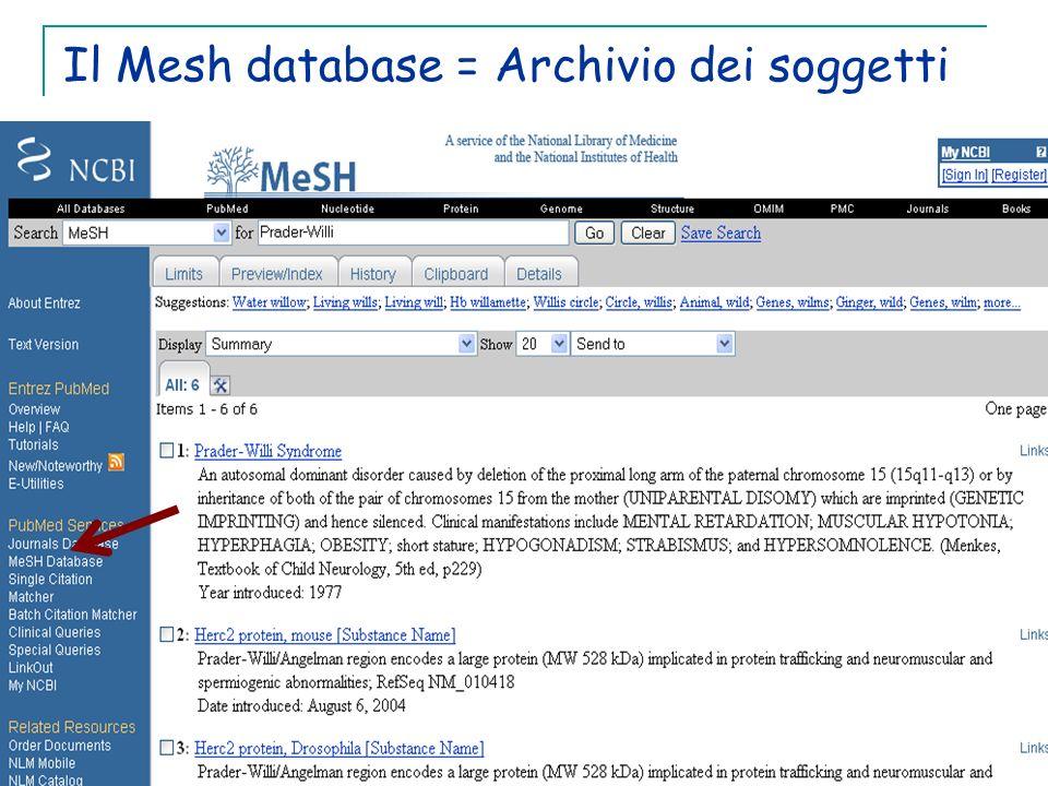 Il Mesh database = Archivio dei soggetti