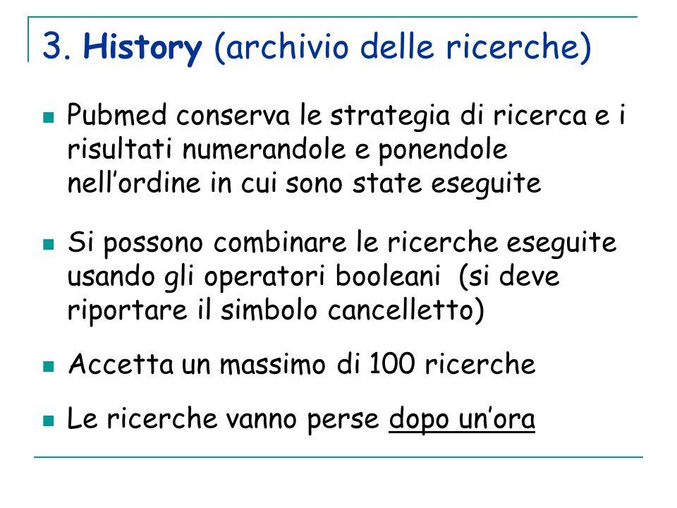 3. History (archivio delle ricerche) Pubmed conserva le strategia di ricerca e i risultati numerandole e ponendole nellordine in cui sono state esegui