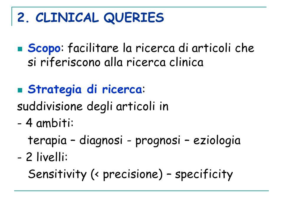 2. CLINICAL QUERIES Scopo: facilitare la ricerca di articoli che si riferiscono alla ricerca clinica Strategia di ricerca: suddivisione degli articoli