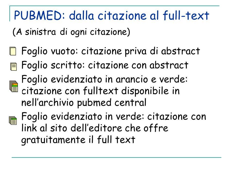 PUBMED: dalla citazione al full-text (A sinistra di ogni citazione) Foglio vuoto: citazione priva di abstract Foglio scritto: citazione con abstract F