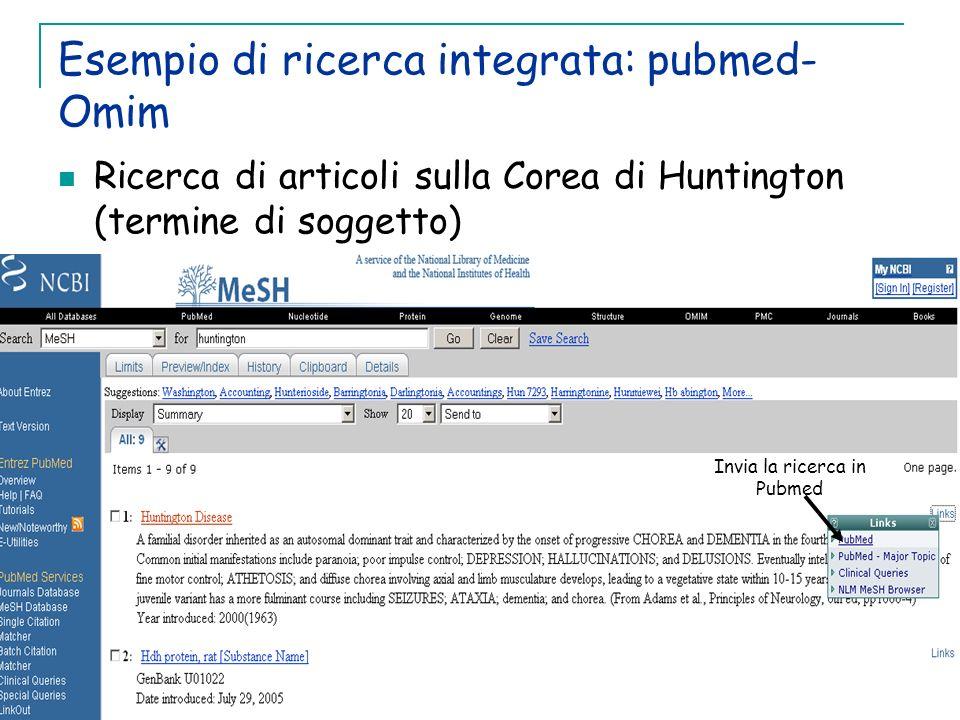 Esempio di ricerca integrata: pubmed- Omim Ricerca di articoli sulla Corea di Huntington (termine di soggetto) Invia la ricerca in Pubmed