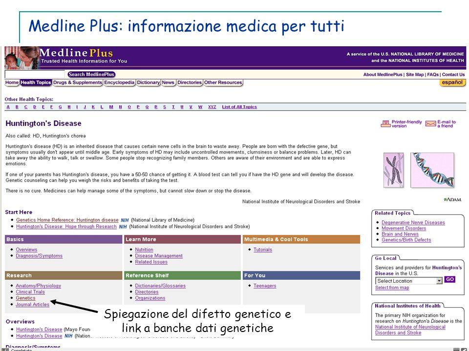Medline Plus: informazione medica per tutti Spiegazione del difetto genetico e link a banche dati genetiche