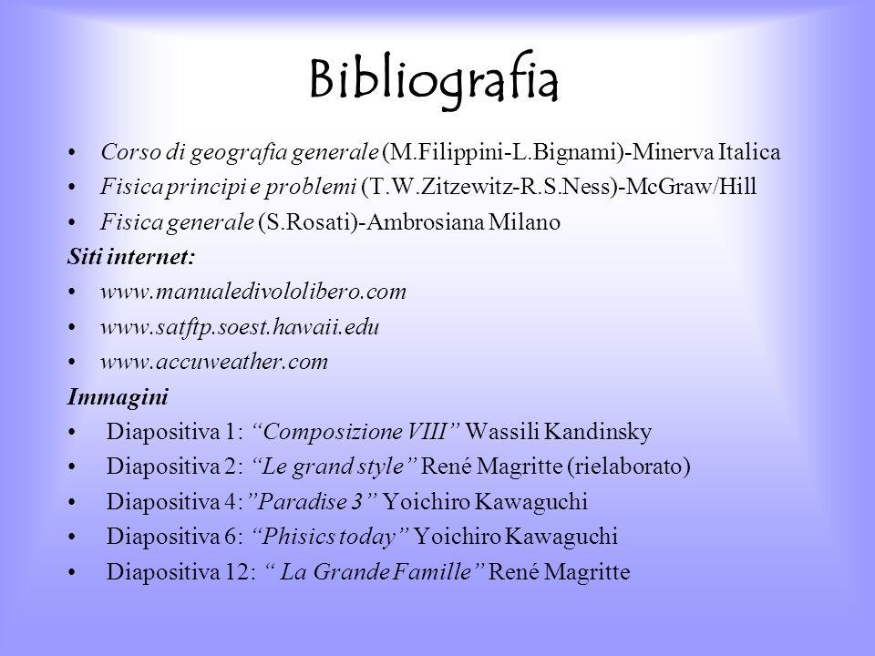 Bibliografia Corso di geografia generale (M.Filippini-L.Bignami)-Minerva Italica Fisica principi e problemi (T.W.Zitzewitz-R.S.Ness)-McGraw/Hill Fisic