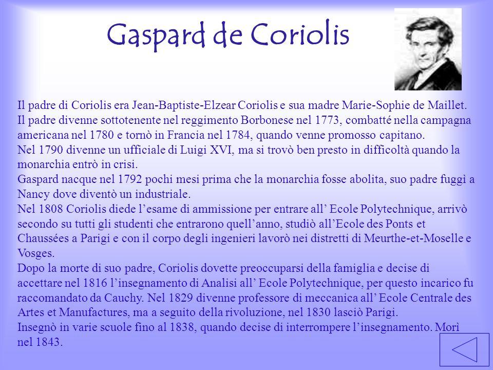 Gaspard de Coriolis Il padre di Coriolis era Jean-Baptiste-Elzear Coriolis e sua madre Marie-Sophie de Maillet. Il padre divenne sottotenente nel regg