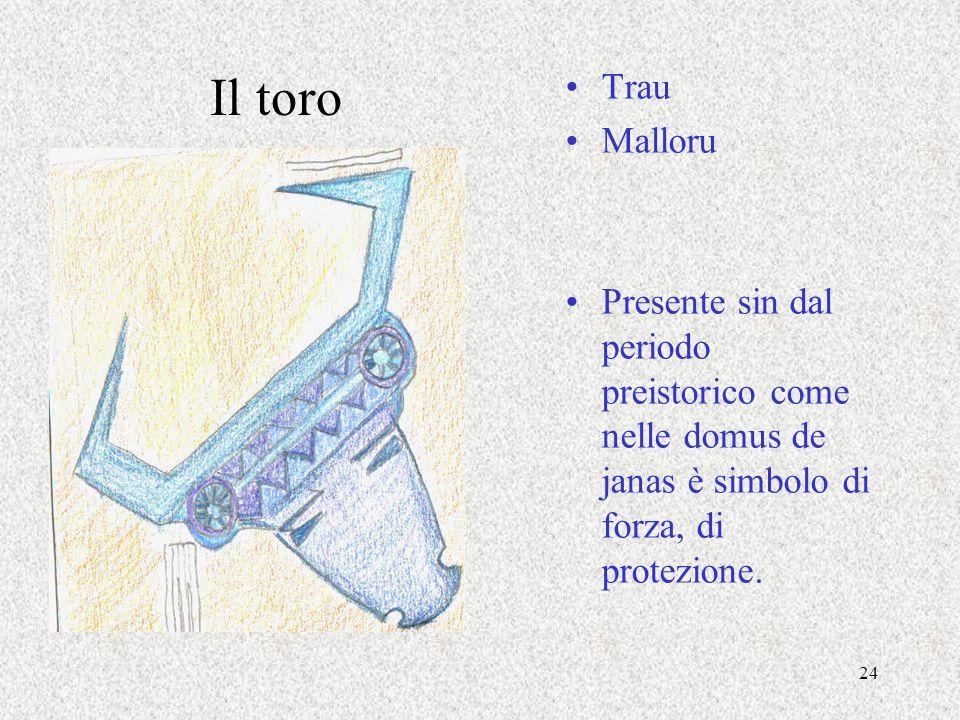 24 Il toro Trau Malloru Presente sin dal periodo preistorico come nelle domus de janas è simbolo di forza, di protezione.