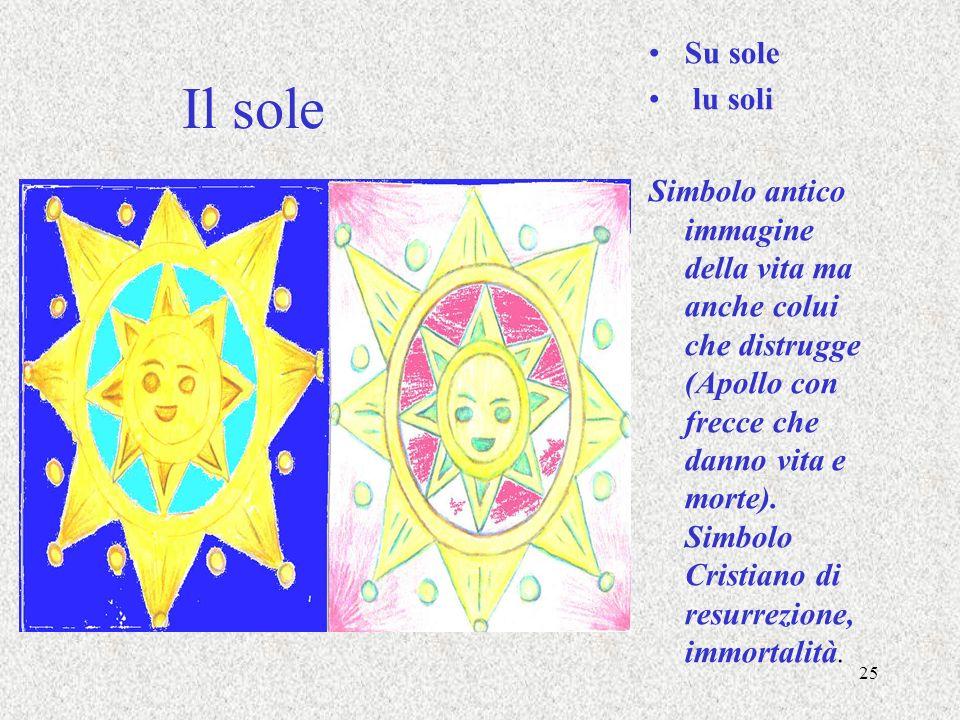 25 Il sole Su sole lu soli Simbolo antico immagine della vita ma anche colui che distrugge (Apollo con frecce che danno vita e morte). Simbolo Cristia