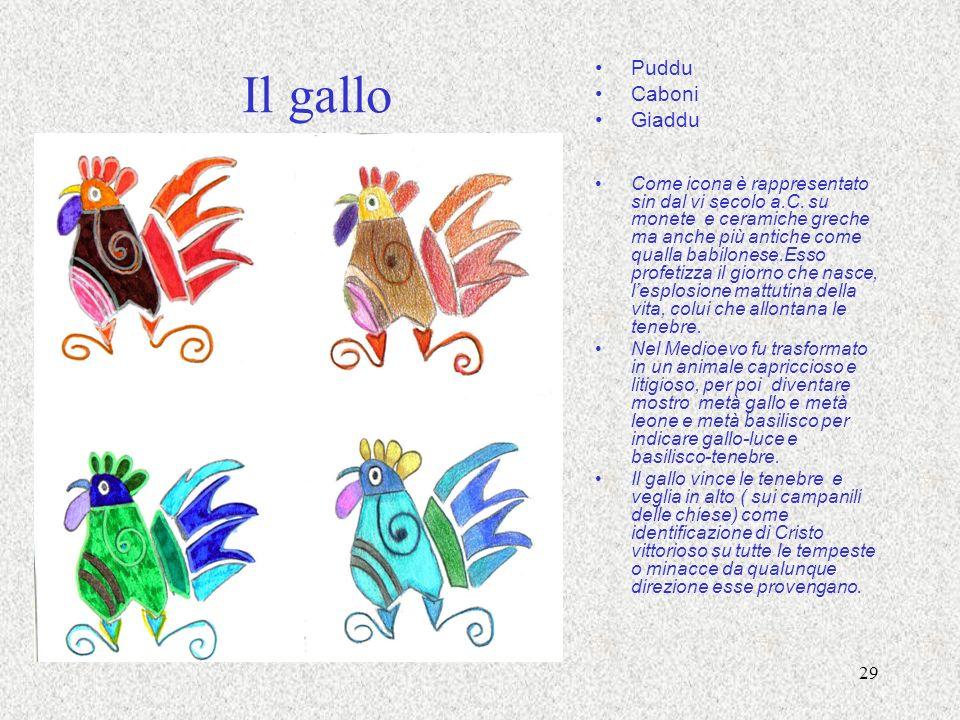 29 Il gallo Puddu Caboni Giaddu Come icona è rappresentato sin dal vi secolo a.C. su monete e ceramiche greche ma anche più antiche come qualla babilo