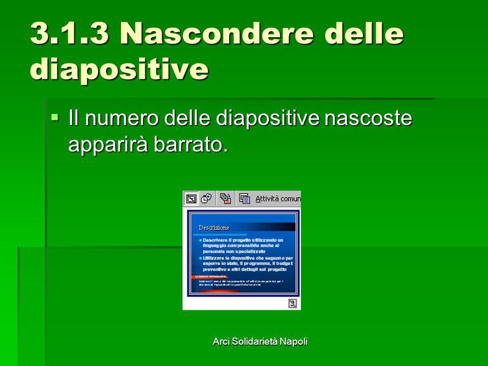 Arci Solidarietà Napoli 3.1.3 Nascondere delle diapositive Il numero delle diapositive nascoste apparirà barrato. Il numero delle diapositive nascoste