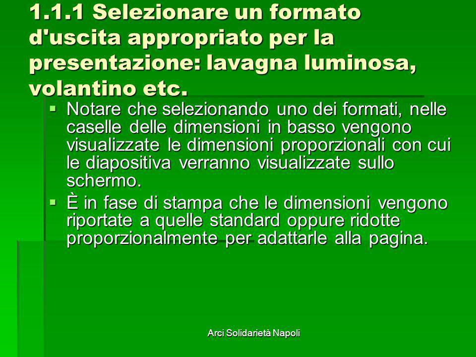 Arci Solidarietà Napoli 1.1.1 Selezionare un formato d'uscita appropriato per la presentazione: lavagna luminosa, volantino etc. Notare che selezionan