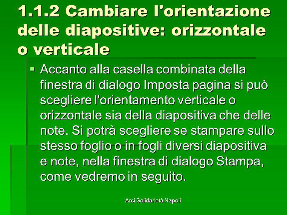 Arci Solidarietà Napoli 1.1.2 Cambiare l'orientazione delle diapositive: orizzontale o verticale Accanto alla casella combinata della finestra di dial
