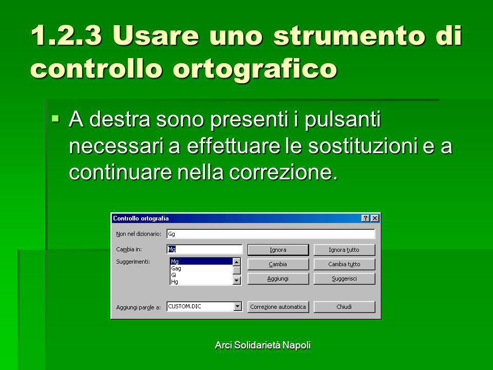 Arci Solidarietà Napoli 1.2.3 Usare uno strumento di controllo ortografico A destra sono presenti i pulsanti necessari a effettuare le sostituzioni e